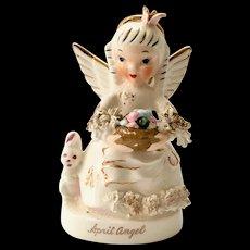Napco S1364 April Birthday Angel Figurine with Easter Basket