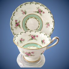 Shelley #13559 Gainsborough Shape Pink Roses Mint Green Band Bone China Teacup and Saucer