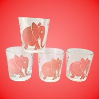 Whimsical Pink Elephants 1950s Old Fashion Glasses by Federal- Set of Four