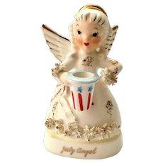Napco S1367 July Birthday Angel Figurine holding Uncle Sam's Hat