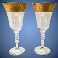 Pair of Lotus Glass Georgian Gold Etch on Stem 86 Hand Blown Lead Crystal Water Goblets circa 1960