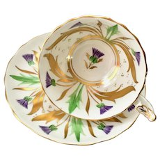 Royal Chelsea Purple Thistle Gold Leaves 233/4 Bone China Teacup and Saucer