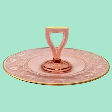 Lotus La Furiste 0907 Rose Pink 22-Karat Gold Depression Glass Center Handled Serving Plate