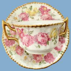 Limoges France Bouillon Cup with Underplate Gold Trimmed Pink and Yellow Roses D&Co/L. Bernardaud/Higgins & Seiter Early 1900s