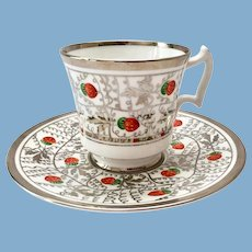 Royal Chelsea 2242A Platinum Silver and Strawberries Hand Decorated Bone China Teacup and Saucer