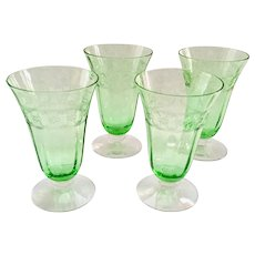 Fostoria Spartan Etch Elegant Glass Green Depression Era 5-Ounce Footed Juice Tumblers - Set of Four