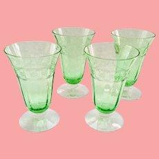 Fostoria Spartan Etch Elegant Glass Green Depression Era 5-Ounce Footed Juice Tumblers - Set of Four