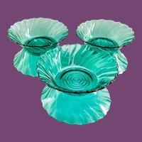Jeannette Swirl Ultramarine Depression Glass Berry Bowls Set of Six