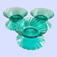 Jeannette Swirl Ultramarine Depression Glass Berry Bowls Set of Six