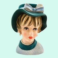 Napco Large C7497 Lady Head Vase Blue Floppy Hat Pearl Necklace and Earrings