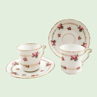 Higgins & Seiter Rosebuds Demitasse Cup and Saucer Set of Two  Early 1900s Austria