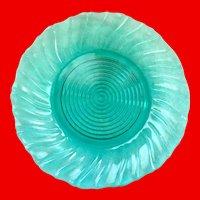 Jeannette Swirl Ultramarine Depression Glass Dinner Plates Set of Four