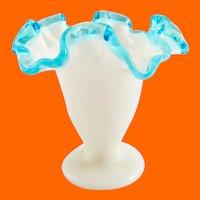 Fenton Aqua Crest 4-1/4 inch Double Crimped Vase
