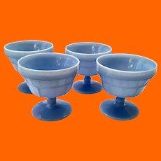 Doric Blue Delphite Depression Glass Footed Sherbet Dessert Cups by Jeannette - Set of Four