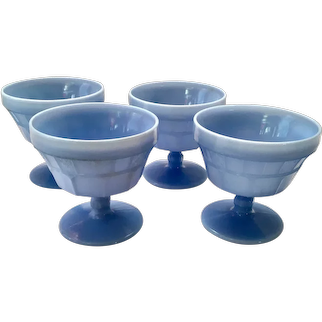 Doric Blue Delphite Depression Glass Footed Sherbet Dessert Cups by Jeannette - Set of Four