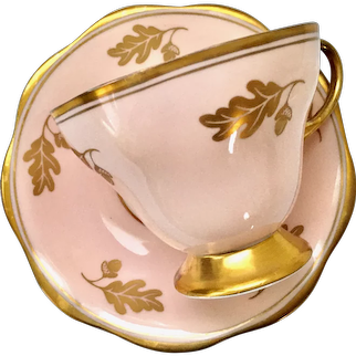 Foley Bone China #3294 Pink with Gold Oak Leaves and Acorns Teacup and Saucer