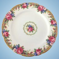 Paragon Bone China England Tapestry Rose Luncheon Plate Double Warrant Backstamp Circa 1940s