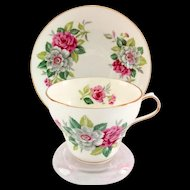 Victoria Cartwright and Edwards Bone China Pink and Gray-White Flowers Teacup and Saucer