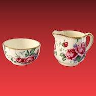 James Kent England Old Foley 4040 Roses Individual Sugar and Creamer