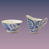 Royal Standard Bone China  #1445 Blue Paisley Chintz Open Sugar and Creamer