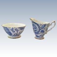 Royal Standard Bone China  #1445 Blue Paisley Chintz Open Sugar and Creamer