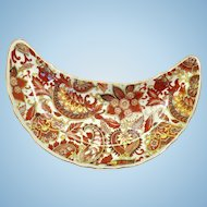 Royal Paisley Chintz Rust-Colored Crescent Salad Plate Arnart Creations Japan