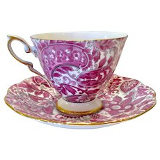 Royal Standard Bone China #1445 Pink Paisley Chintz Teacup and Saucer