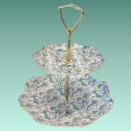 Lefton Blue Paisley Center Handled Two Tiered Serving Tray