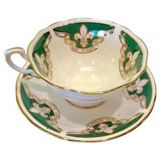 Paragon Bone China Boy Scouts Green and Gold Teacup and Saucer Early 1960s