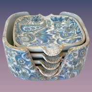 Vintage Arnart Royal Paisley Blue Chintz Ashtray Set with Holder