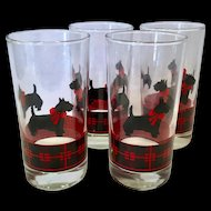 Anchor Hocking Vintage Glass Scottie Dog HIghball Tumblers Signed Fitz Set of Four