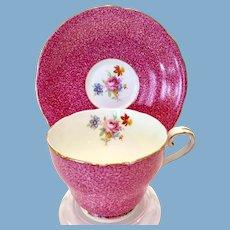 Aynsley Bone China Pink Sponge Effect Floral C171 Teacup and Saucer