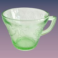 Bowknot Green Depression Glass Handled Custard Cup
