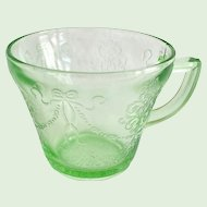 Bowknot Green Depression Glass Handled Custard Cup
