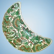 Royal Paisley Chintz green Crescent Salad Plate Arnart Creations