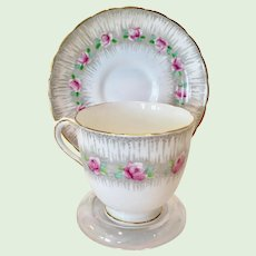 Plant Tuscan Bone China C6561 Pink Roses with Enameled Green Leaves Teacup and Saucer Gray Ground