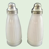 Vintage Ribbed White Milk Glass Salt and Pepper Shakers