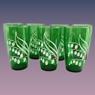 Forest Green Lily of the Valley Tumblers by Anchor Hocking Set of Seven