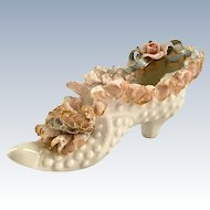 Heirlooms of Tomorrow California Pottery High-Heeled Porcelain Lace Shoe Figurine
