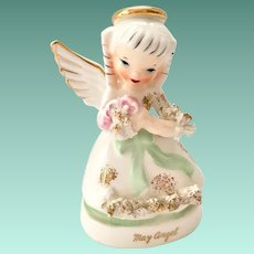 Napco May A1365 Birthday Angel Figurine with Spring Flowers