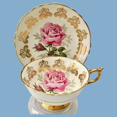 Paragon Bone China A125J Teacup and Saucer Large Pink Rose Gold Filigree Medallions