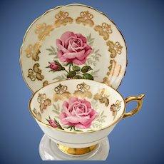 Paragon Bone China A125J Teacup and Saucer Large Pink Rose Gold Filigree Medallions
