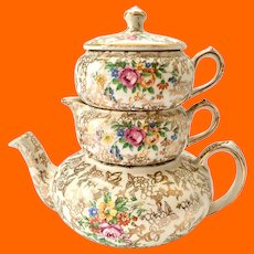 Lord Nelson Ware England #2528 Gold Chintz Stacking Teapot Set Circa 1950s