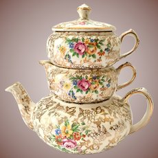 Lord Nelson Ware #2528 Gold Chintz Stacking Tea Set Circa 1950s