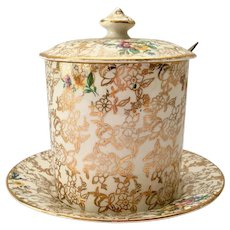 Lord Nelson Ware #2528 Floral Gold Chintz Covered Jam Pot with Under Plate Circa 1950s