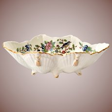 Aynsley Bone China Pembroke Oval Shell Shaped Footed Bowl Birds and Flowers Gold Trim