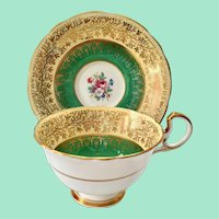 Aynsley England #C557 Green and Cream Gold Filigree Overlay Bone China Teacup and Saucer