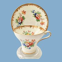 Aynsley Bone China #2751 Corset Shaped Floral and Gold Teacup and Saucer