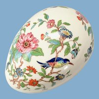 Aynsley Bone China Pembroke Egg Shaped Box Birds and Flowers Gold Trim