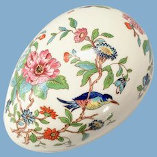 Aynsley Bone China Pembroke Egg Shaped Box Birds and Flowers Gold Trim